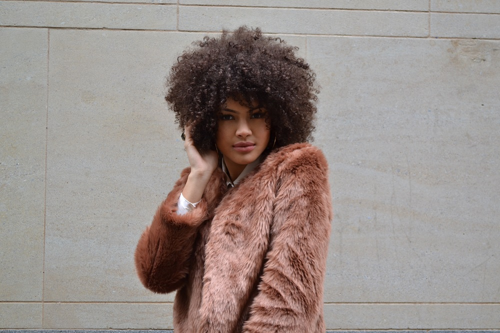 Afro and Faux Fur Coat