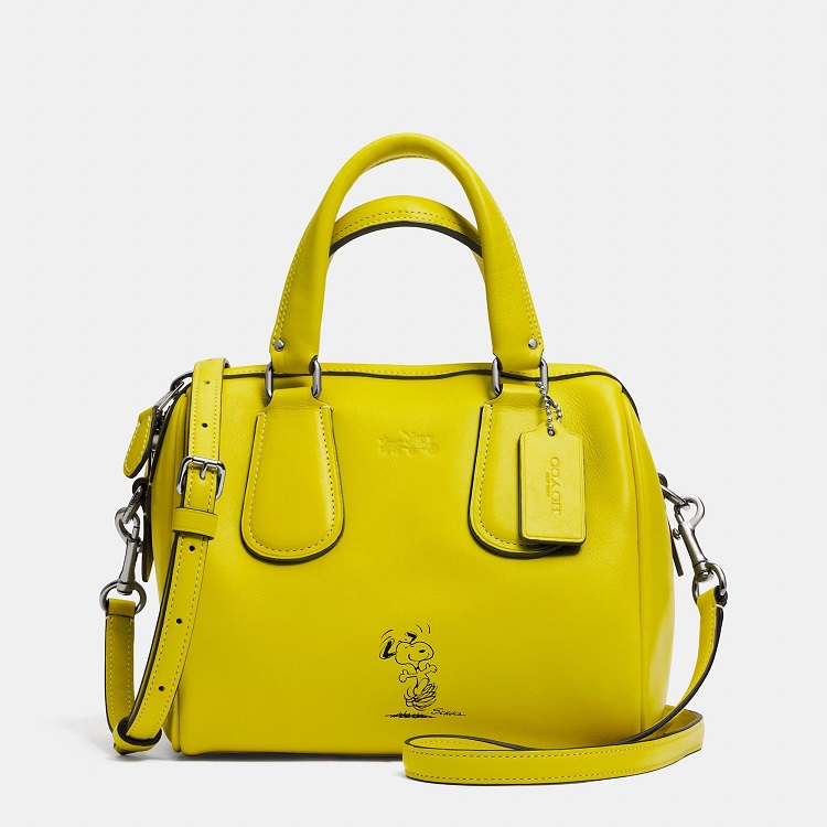 Coach x Peanuts collection yellow satchel bag