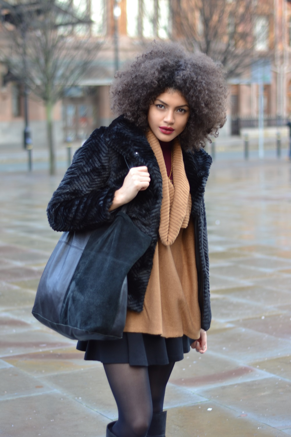 H&M Fake fur jacket and H&M Knitted poncho