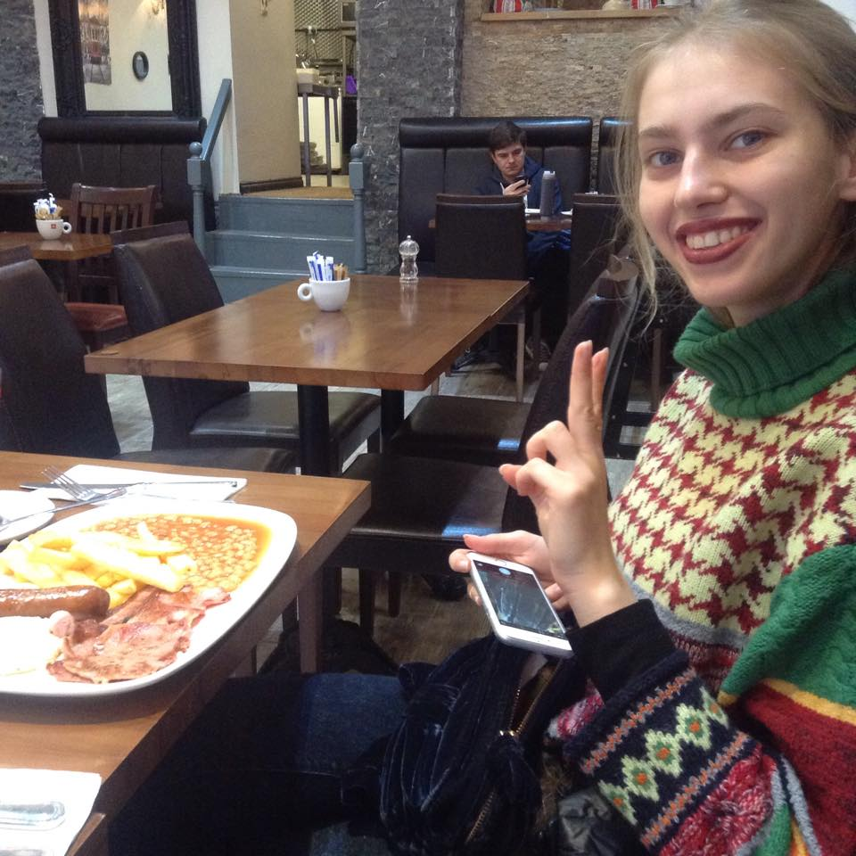 Natalia and her Breakfast in London