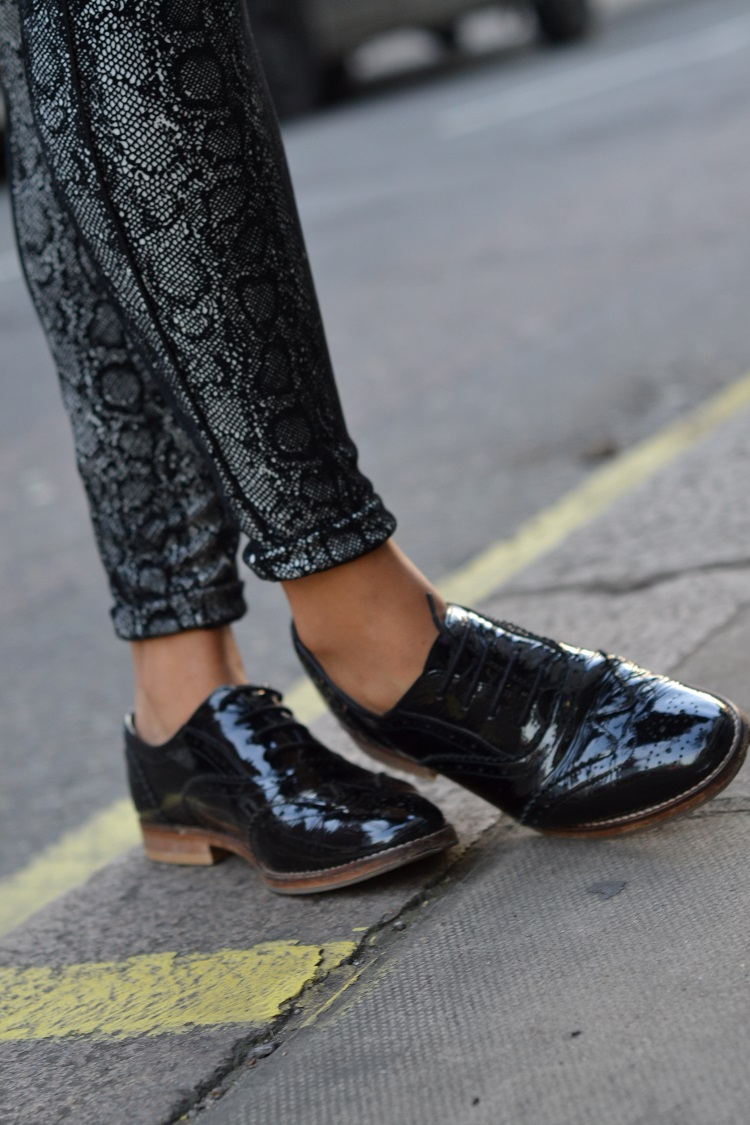 office black patent brogues