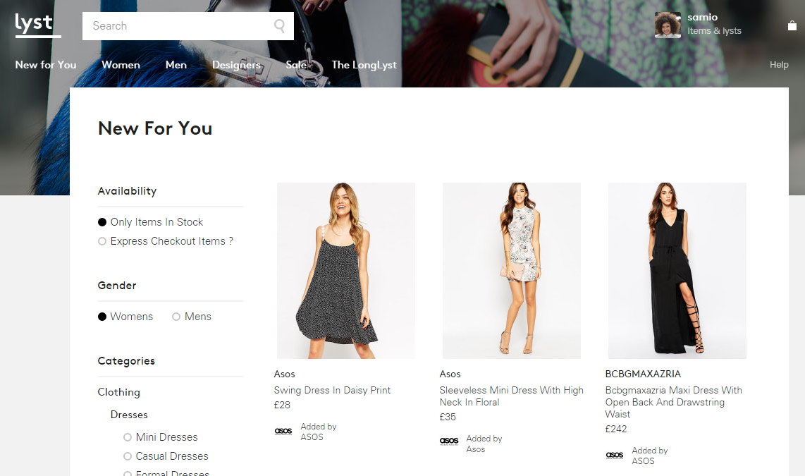 Lyst.co.uk New Just For You