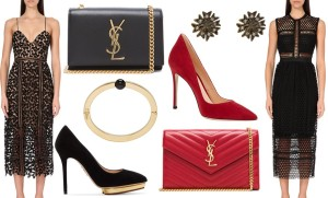 Self Portrait lace dress, Saint Laurent Chain clutch bag and Charlotte Olympia heels outfit Lyst
