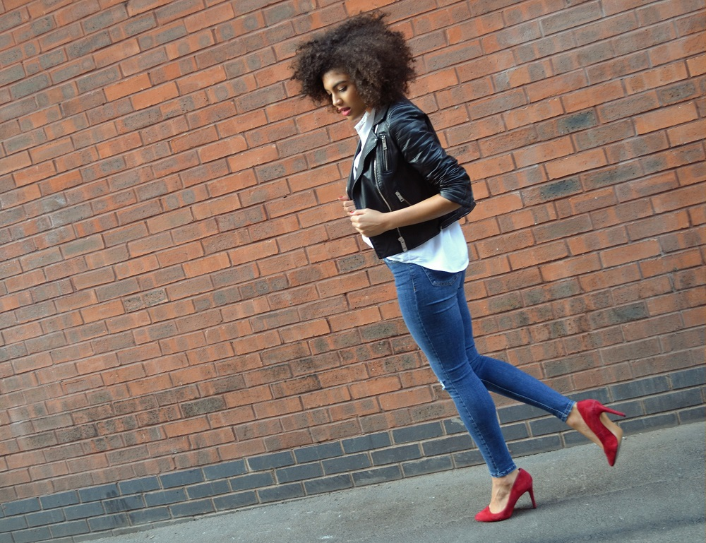 Samio Topshop Jamie jeans red aldo heels and Zara faux leather biker jacket outfit