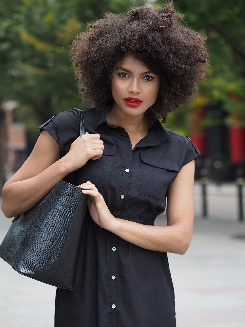 Black Shirt Dress and Whistles Bag Outfit