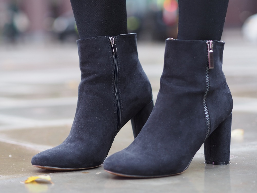 TKMaxx Black heeled ankle boots outfit