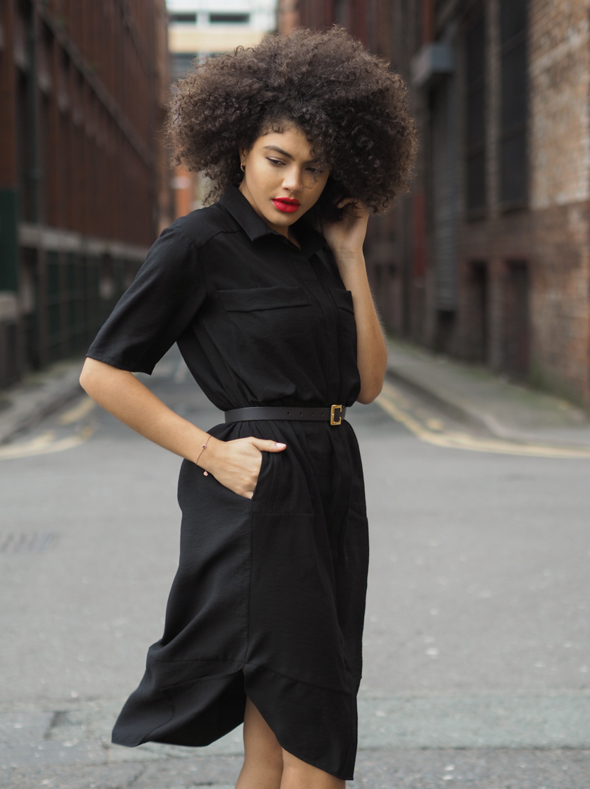 Whistles Plain Longline Shirt Dress In Black