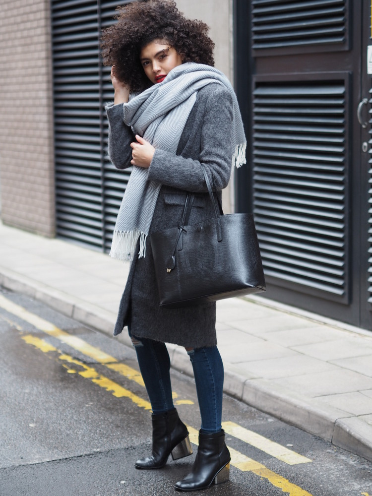 Grey Asos Wool Coat and Grey Oversized Scarf Outfit