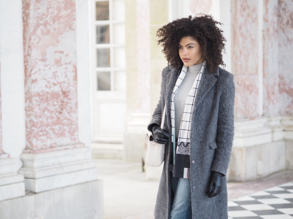 Asos Grey Coat and roll neck outfit