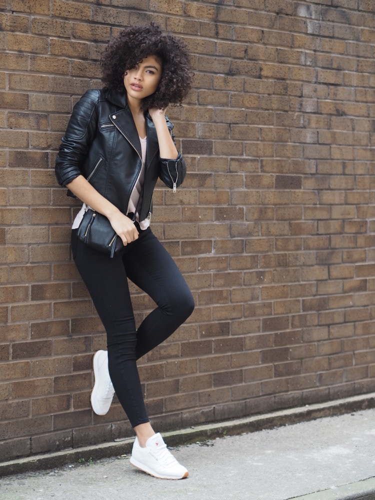 Black skinny jeans and biker moto jacket outfit
