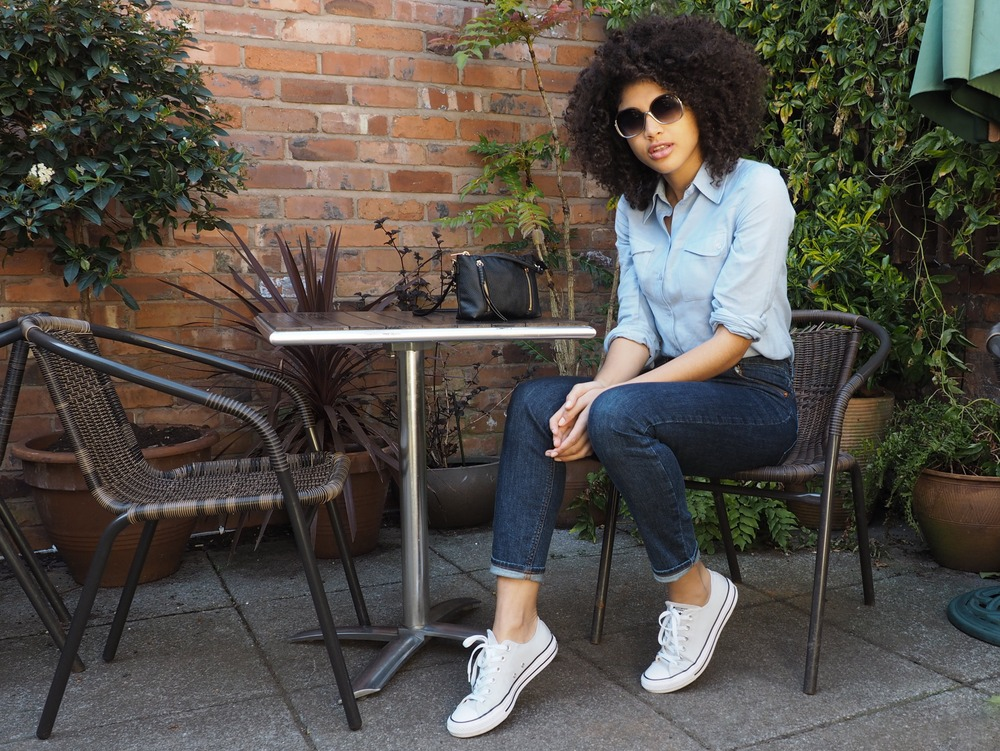 Asos blue shirt and farleigh jeans outfit