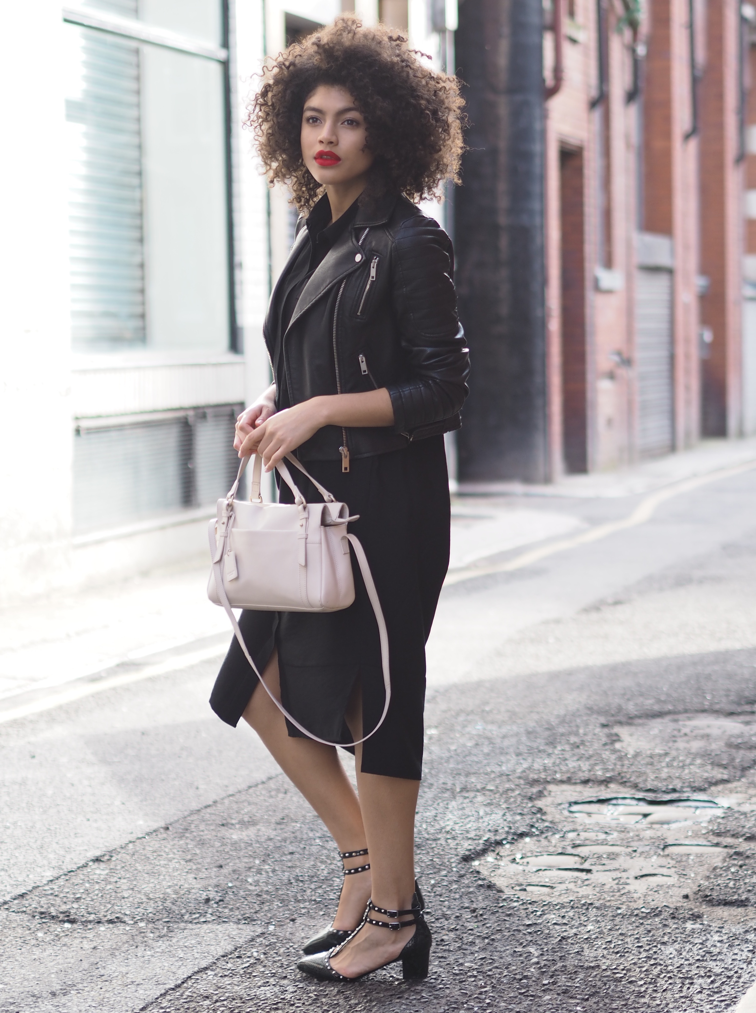 Black Zara Biker Jacket and Black Whistles Shirt Dress Outfit