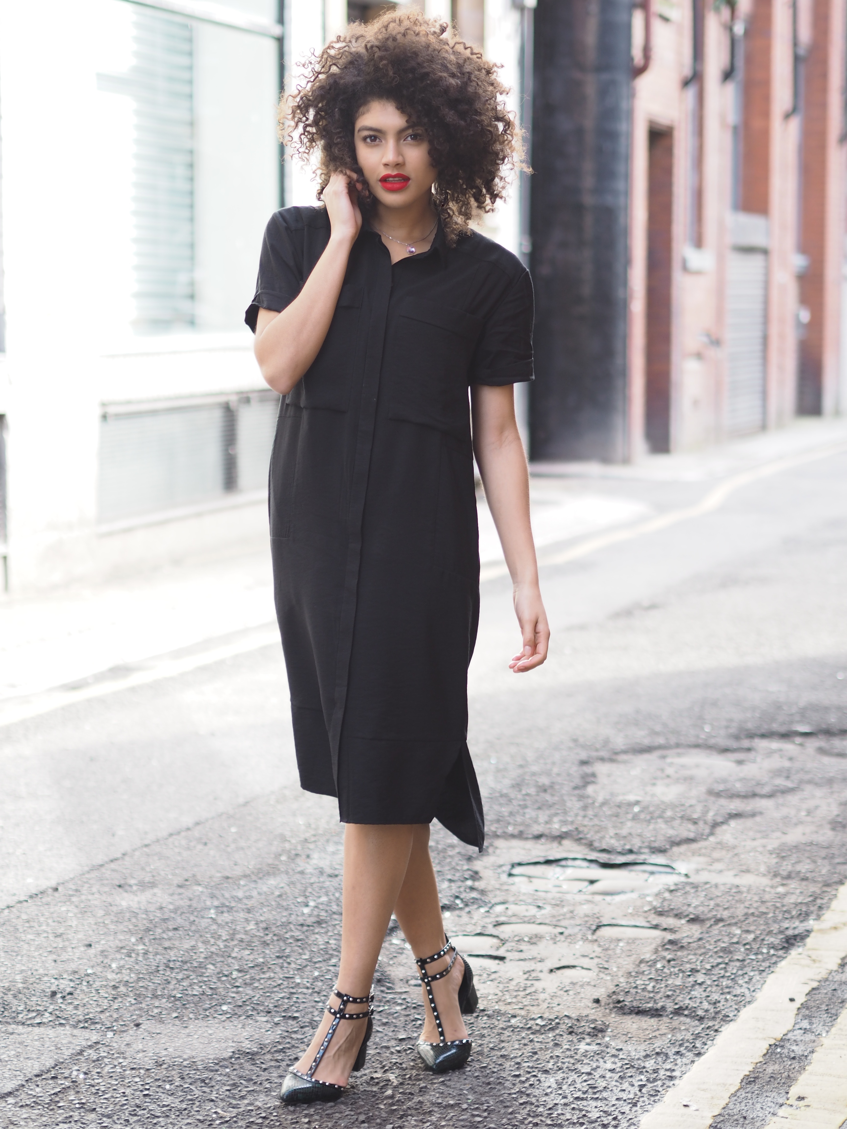Long black shirt dress