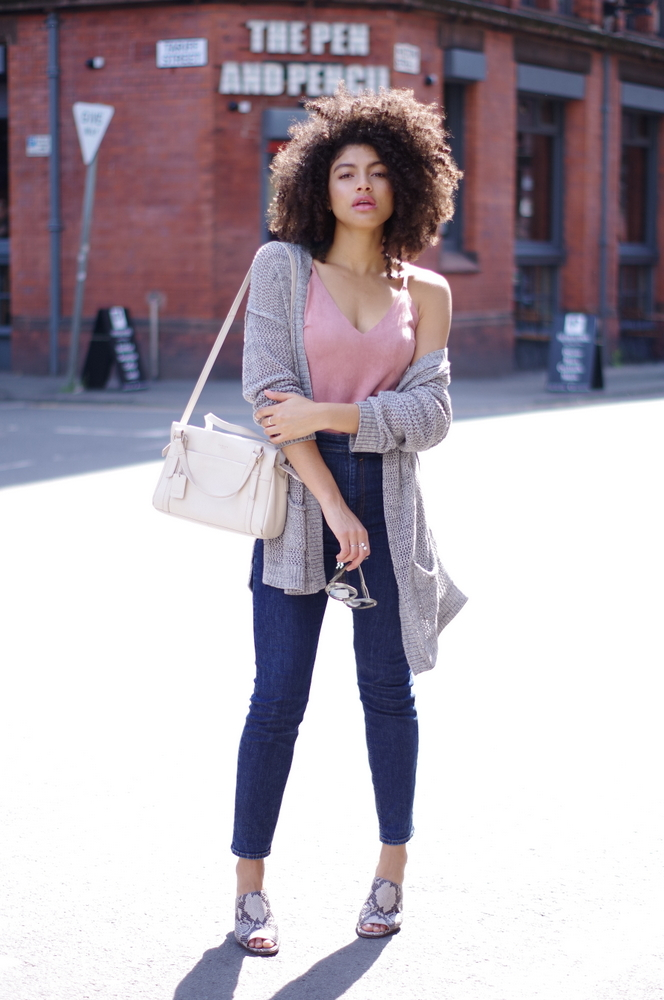 Grey Cardigan, dusky pink cami, slim Mom Jeans and mules outfit
