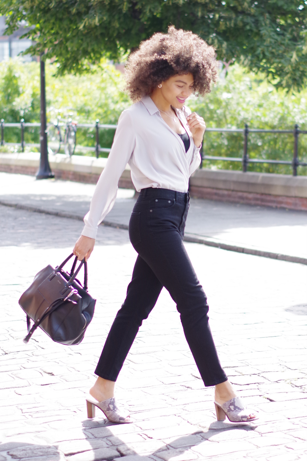 Black mom jeans blouse and mules outfit
