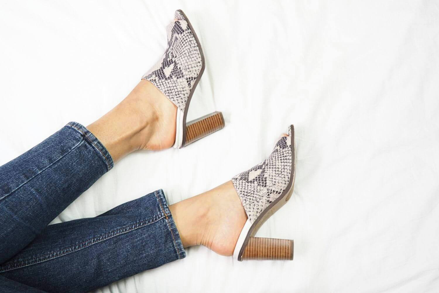 Clarks Snake Print Image Gallery Heeled Mules
