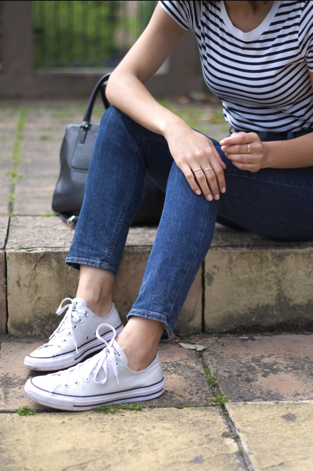 Grey Converse and Asos Slim Mom jeans
