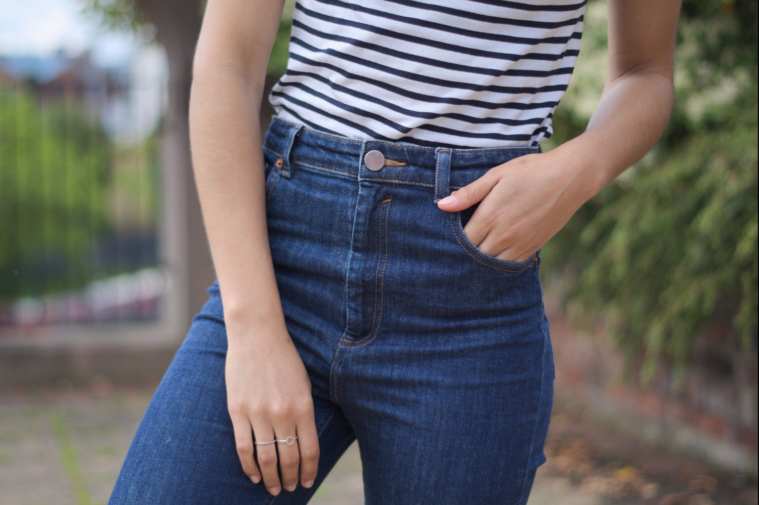 Stripe T-shirt and Asos Mom jeans Outfit