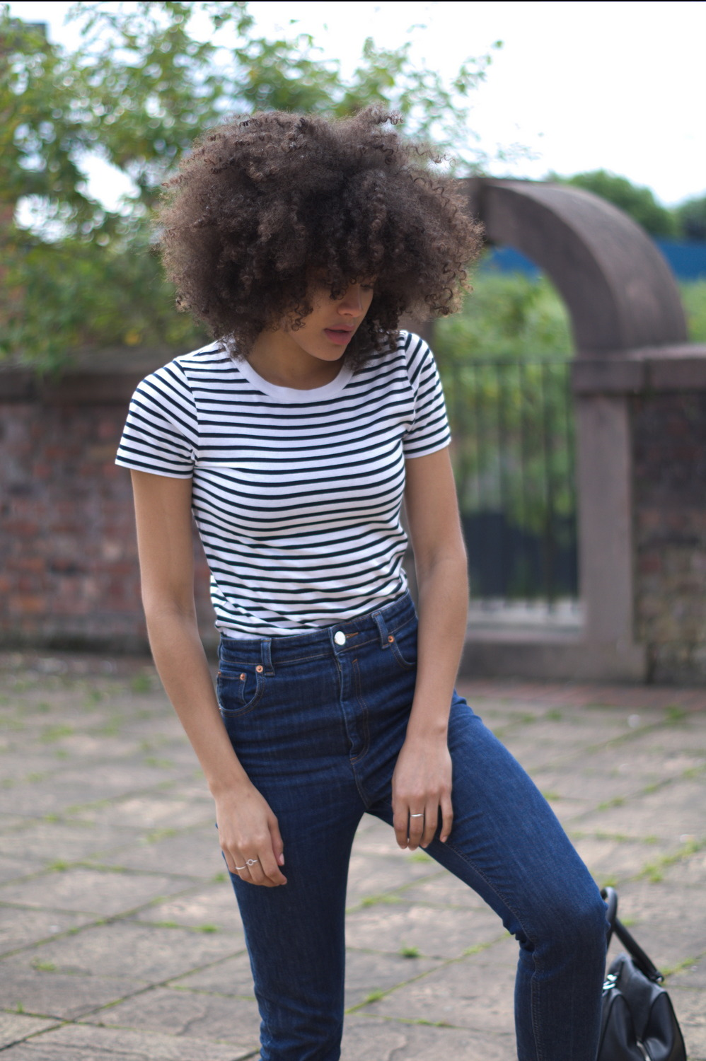 Stripe T-shirt and jeans outfit