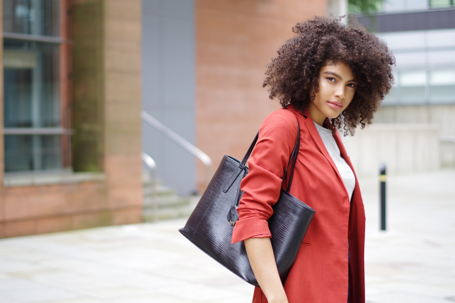 Whistles tote bag and burnt orange blazer outfit