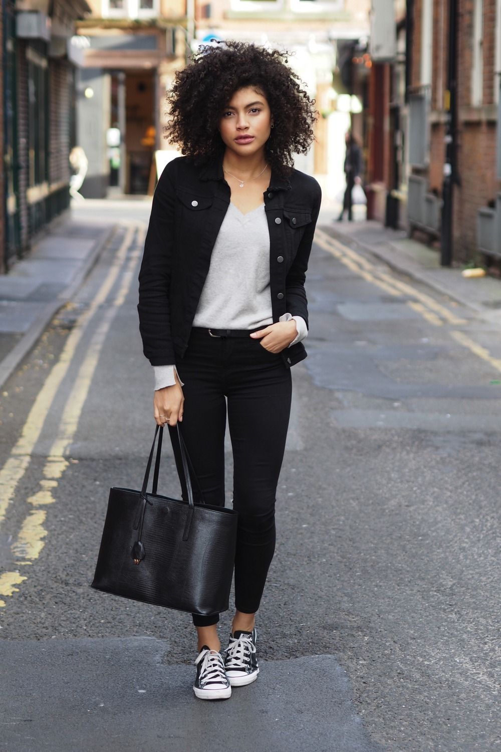 black denim everyday casual outfit