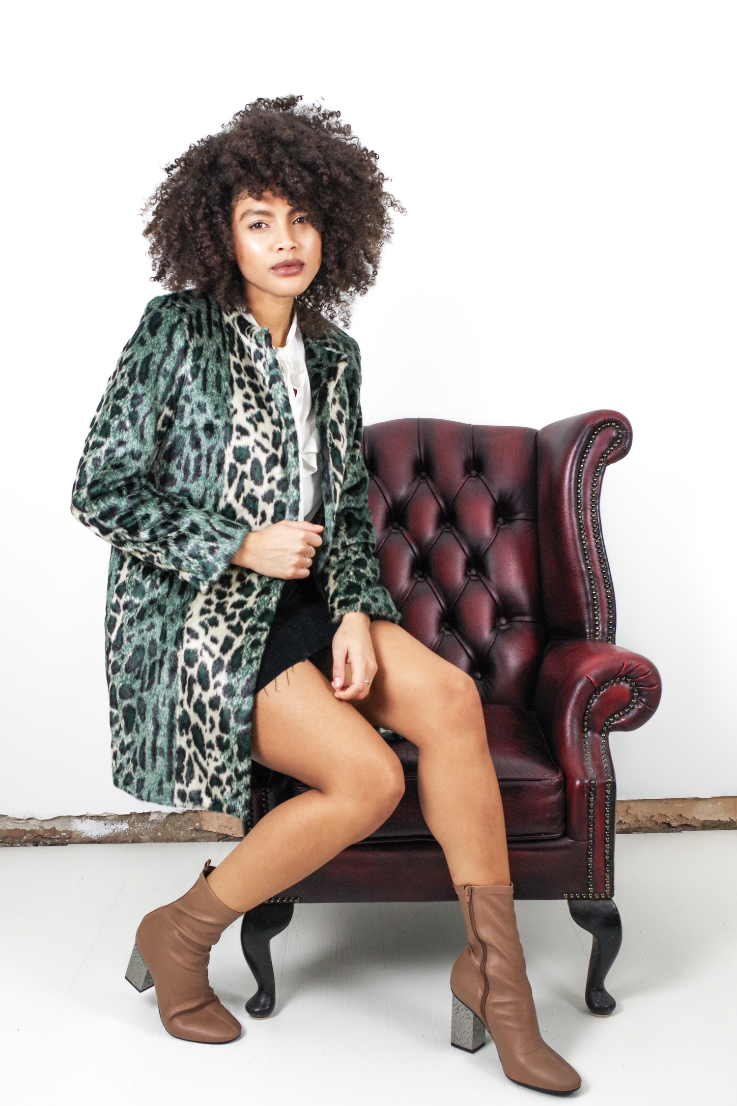 Topshop Emerald Green Faux Fur Leopard Print Coat
