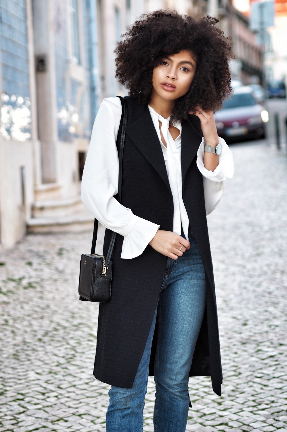 Asos Denim Farleigh Mom Jeans Navy Mint Velvet Coat and Topshop Frill Ivory Shirt Outfit