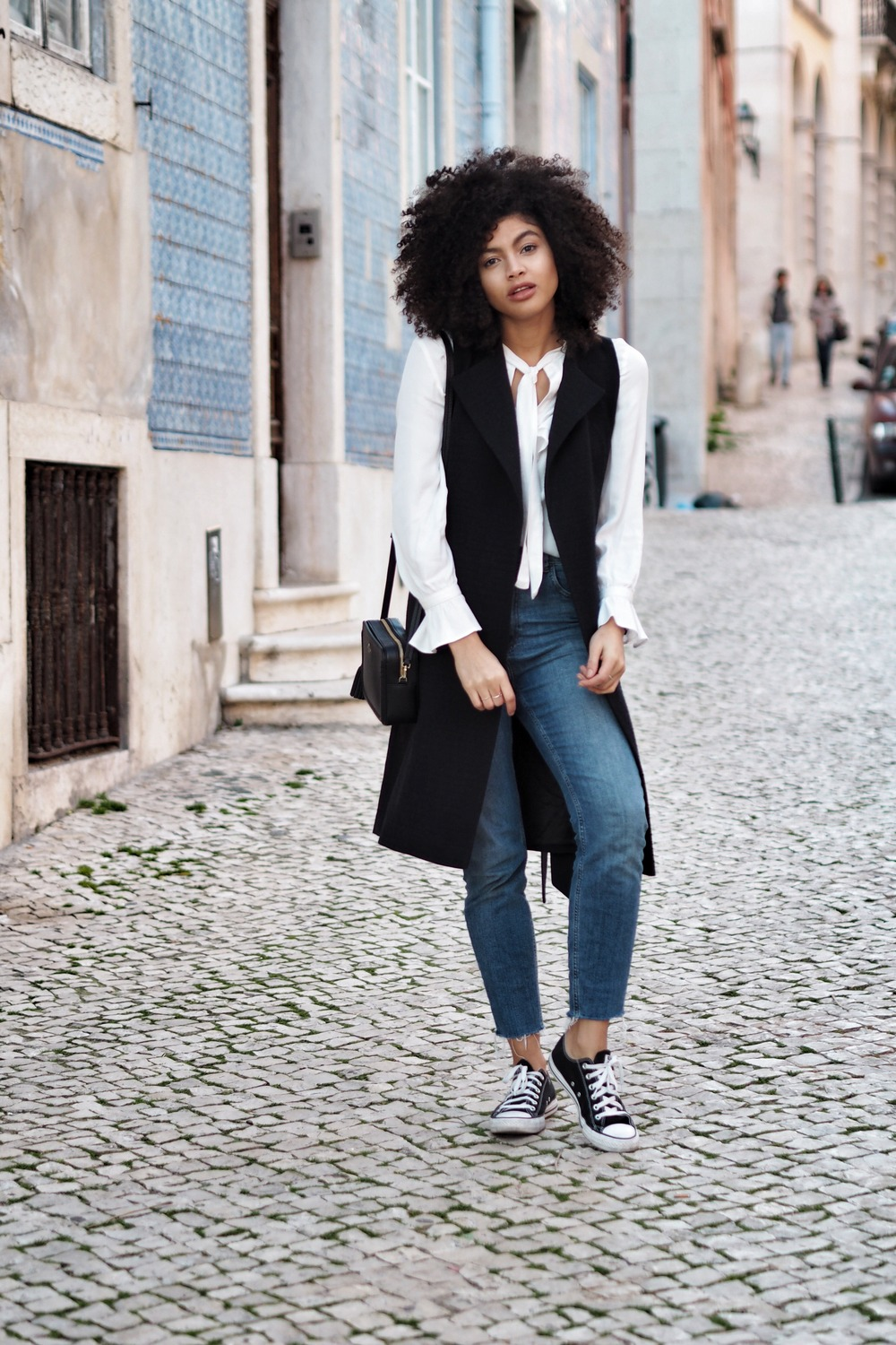 Denim and Navy outfit in Lisbon