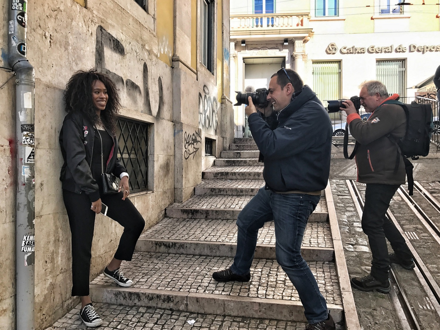 LOréal being photographed in Lisbon