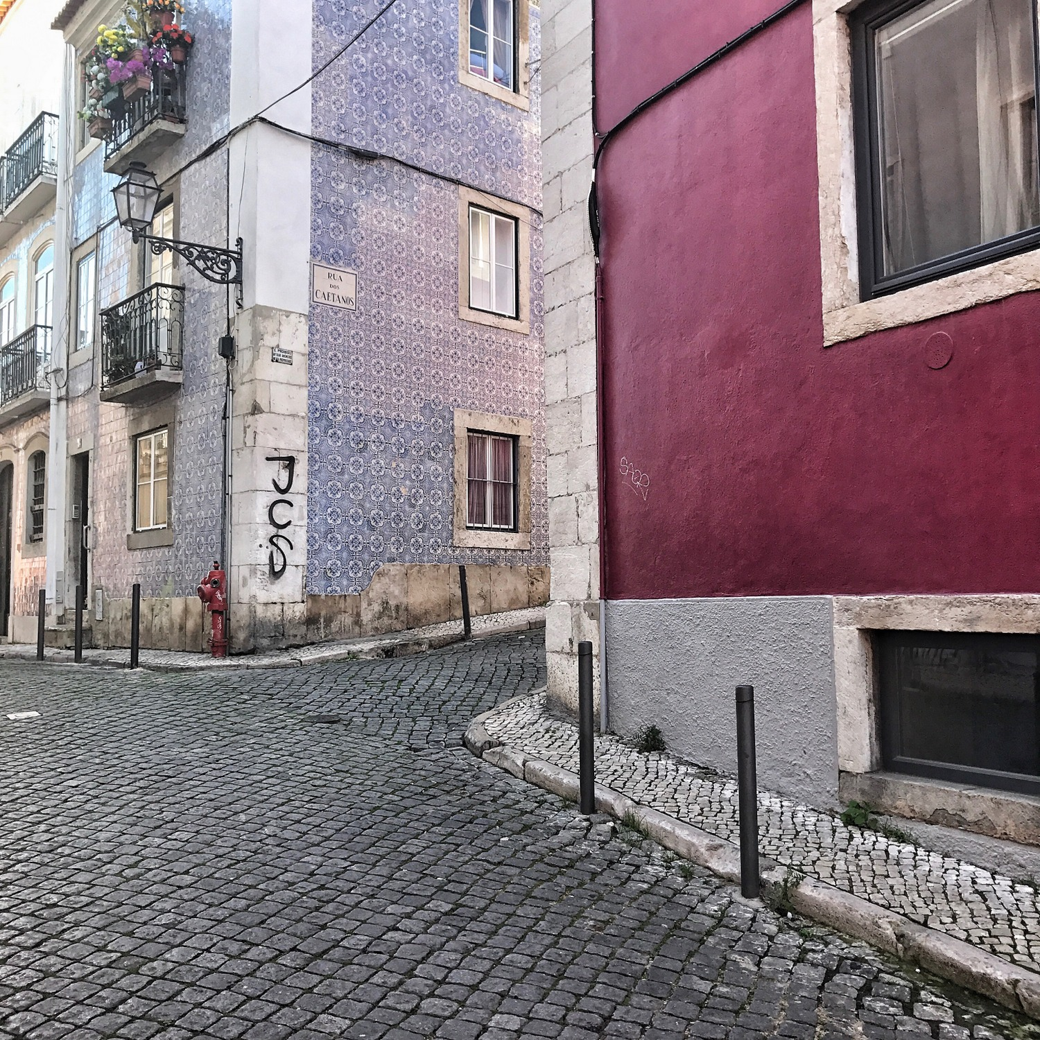 Pink and lilac buildings in Lisbon