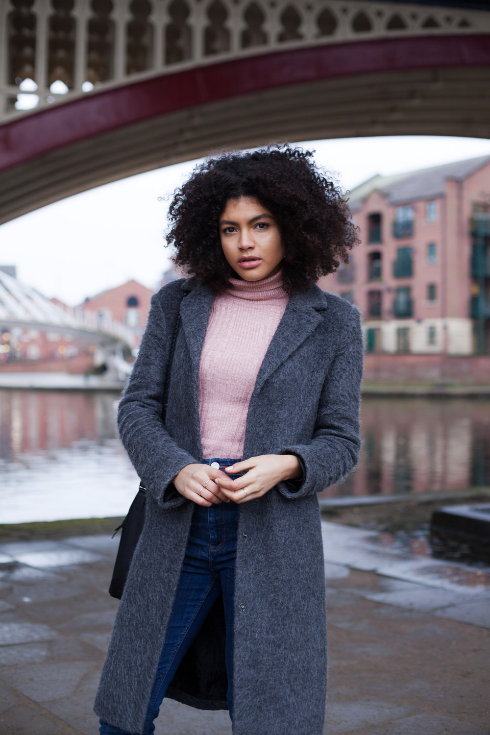 Pink Roll Neck and grey coat outfit