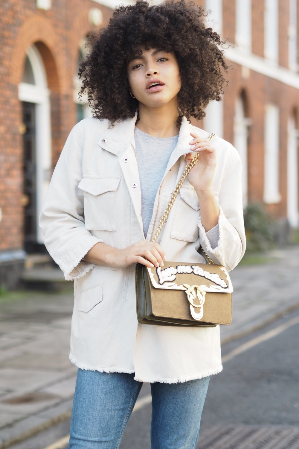 Pinko Denim Parka and Canvas Love Bag Outfit