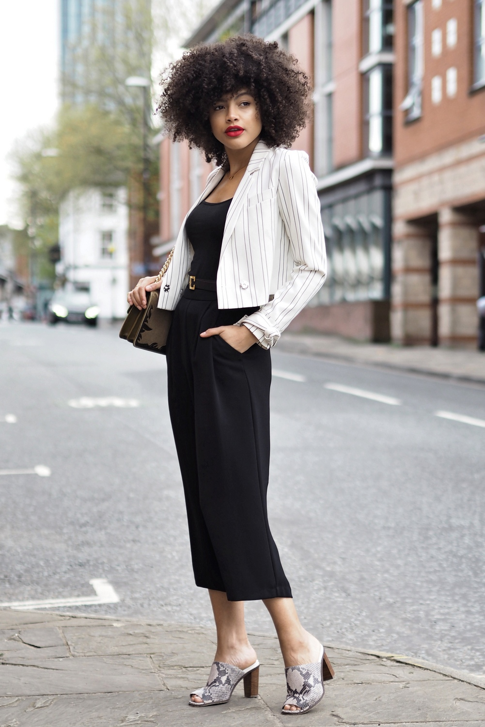 Black culottes mules and cropped blazer black and white outfit
