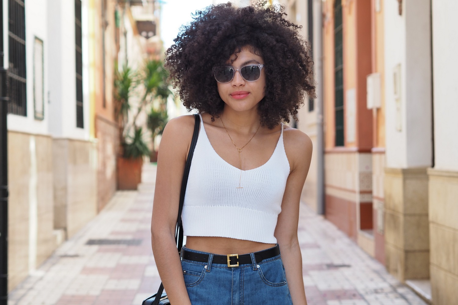 brandy melville knitted crop top and Taylor Morris Saratoga II transparent wayfarer-style sunglasses