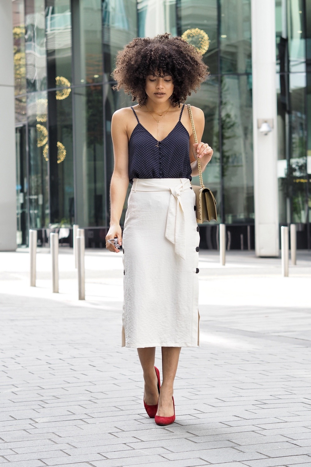 Topshop Button Side Tie Midi Skirt