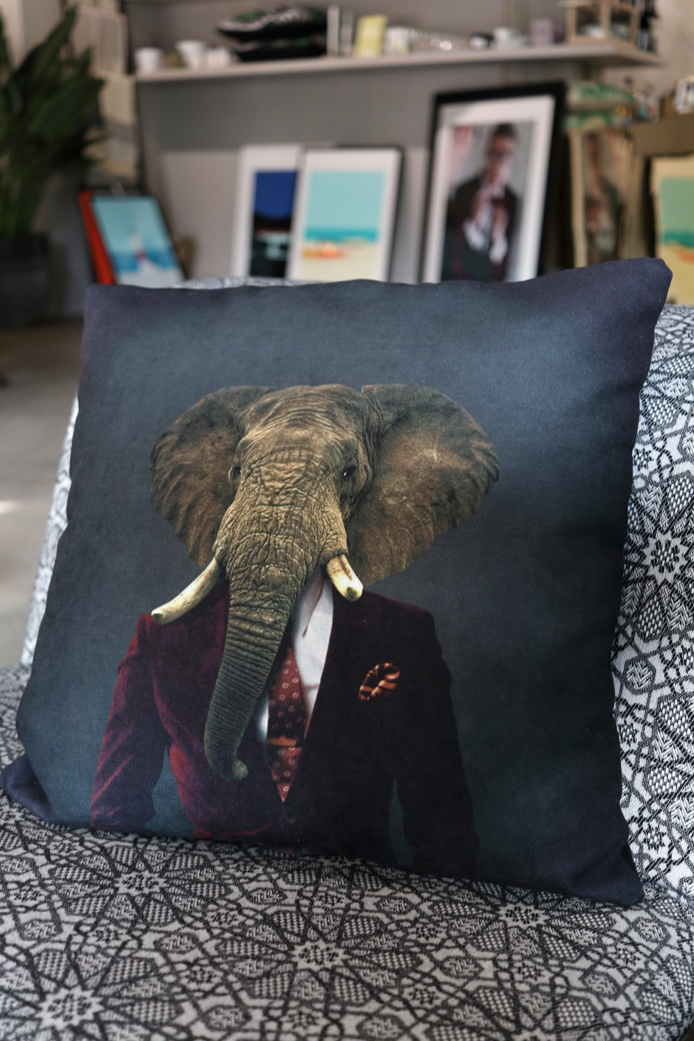 Elephant In Suit Cushion