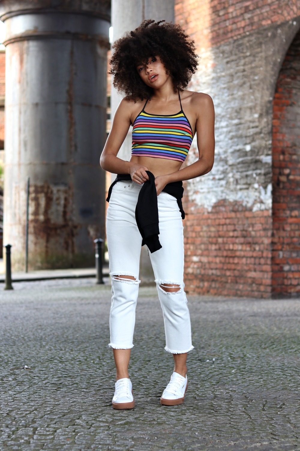 Motel rainbow crop top white mom jeans