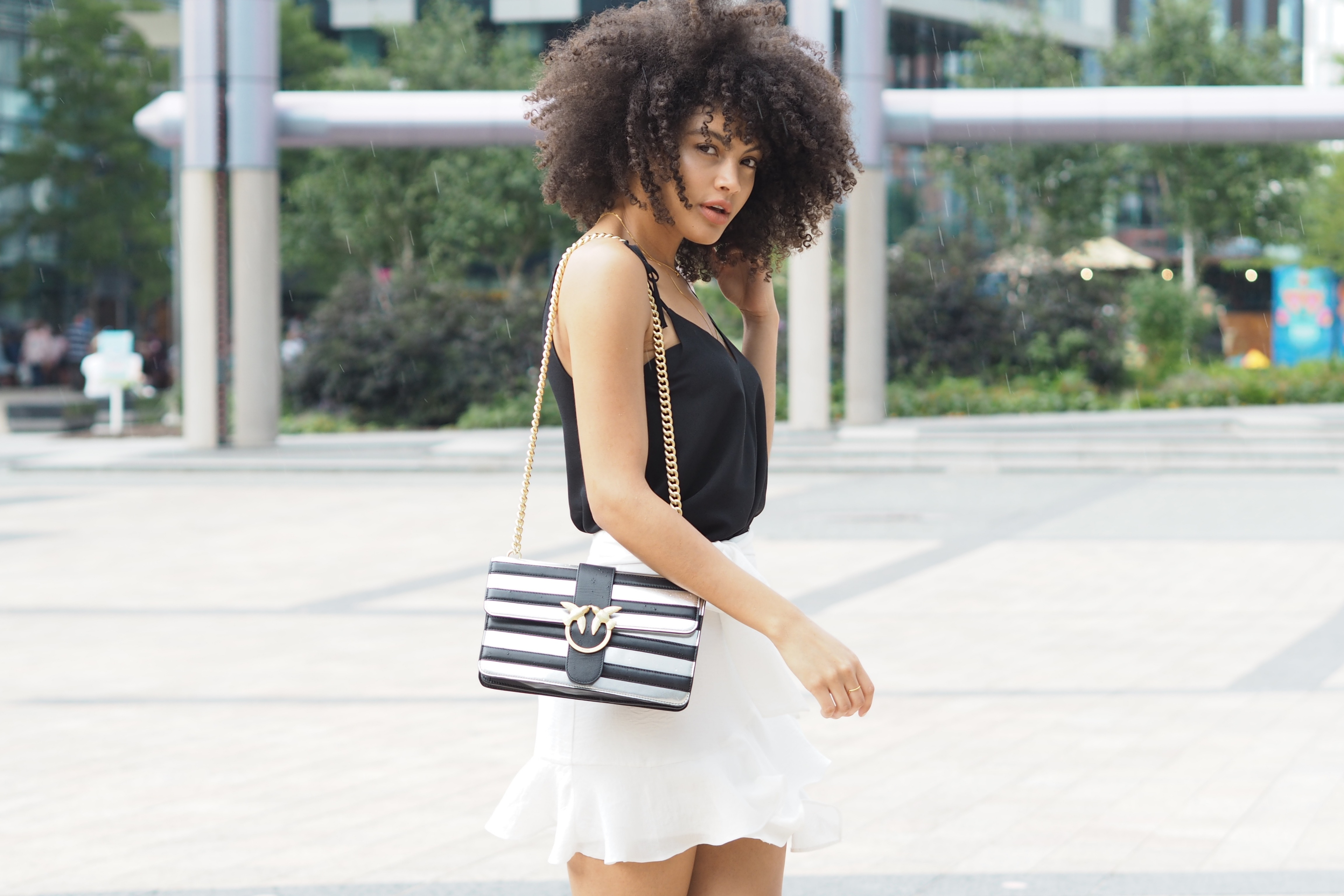 Pinko black and silver love bag monochrome outfit