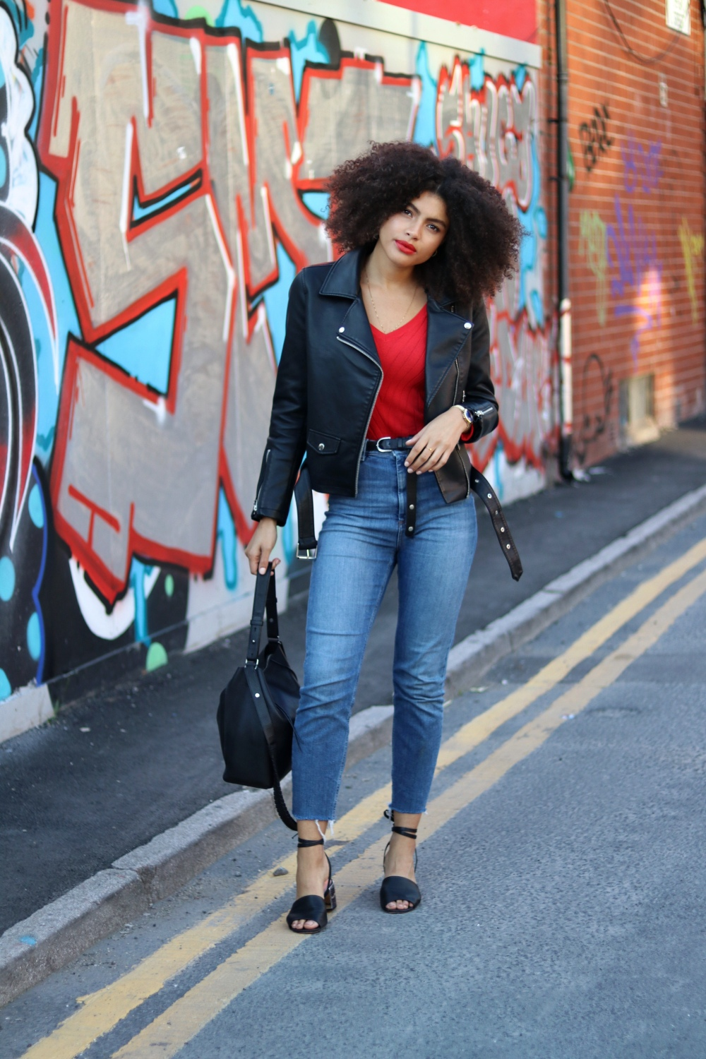 Denim and Faux Leather Casual Womens Biker Jacket Outfit