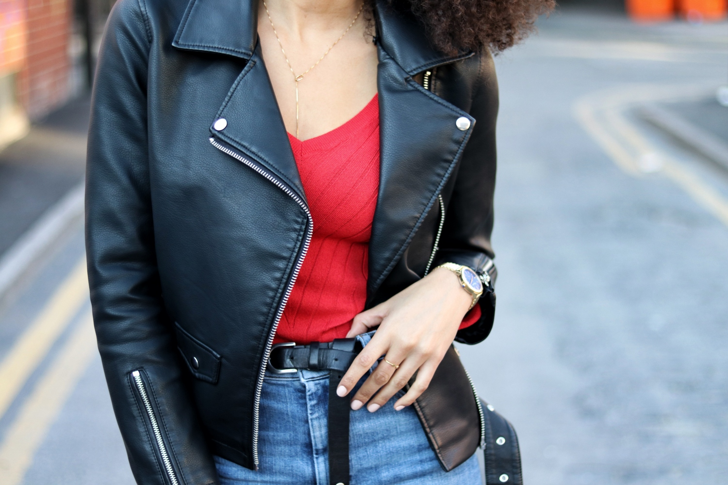 Topshop Borg Collar Faux Leather Biker Jacket