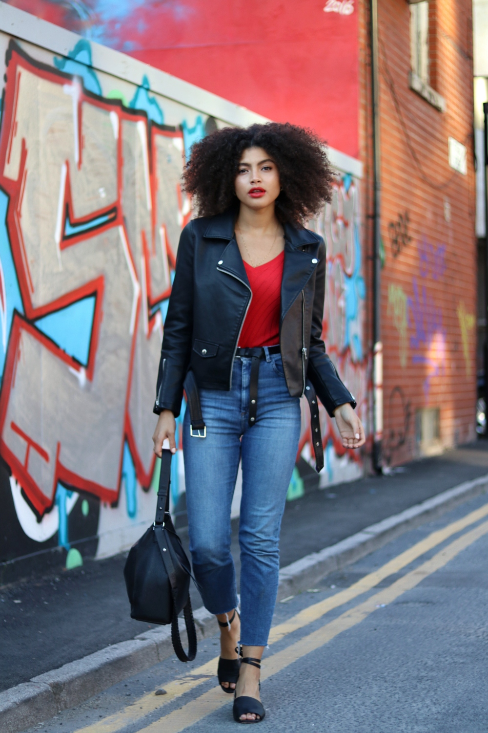 Topshop Faux Leather Biker Jacket Asos Farleigh Jeans and Red Top Outfit