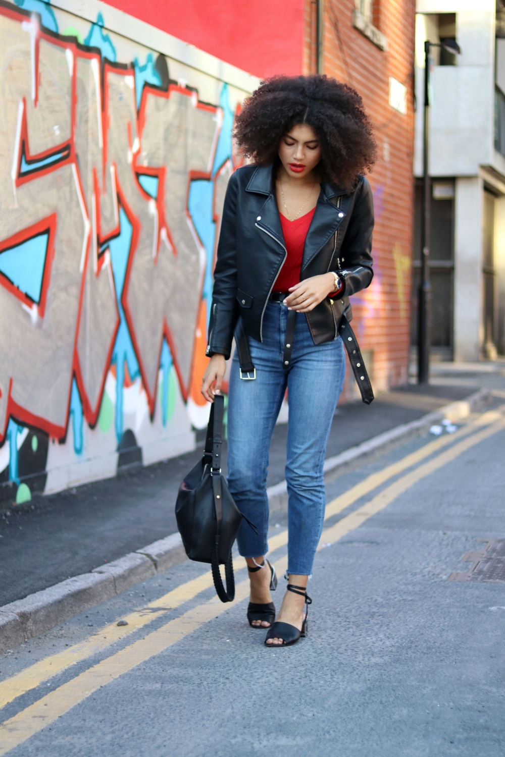 Topshop Biker Jacket and Wide V Neck Ribbed Top in Red