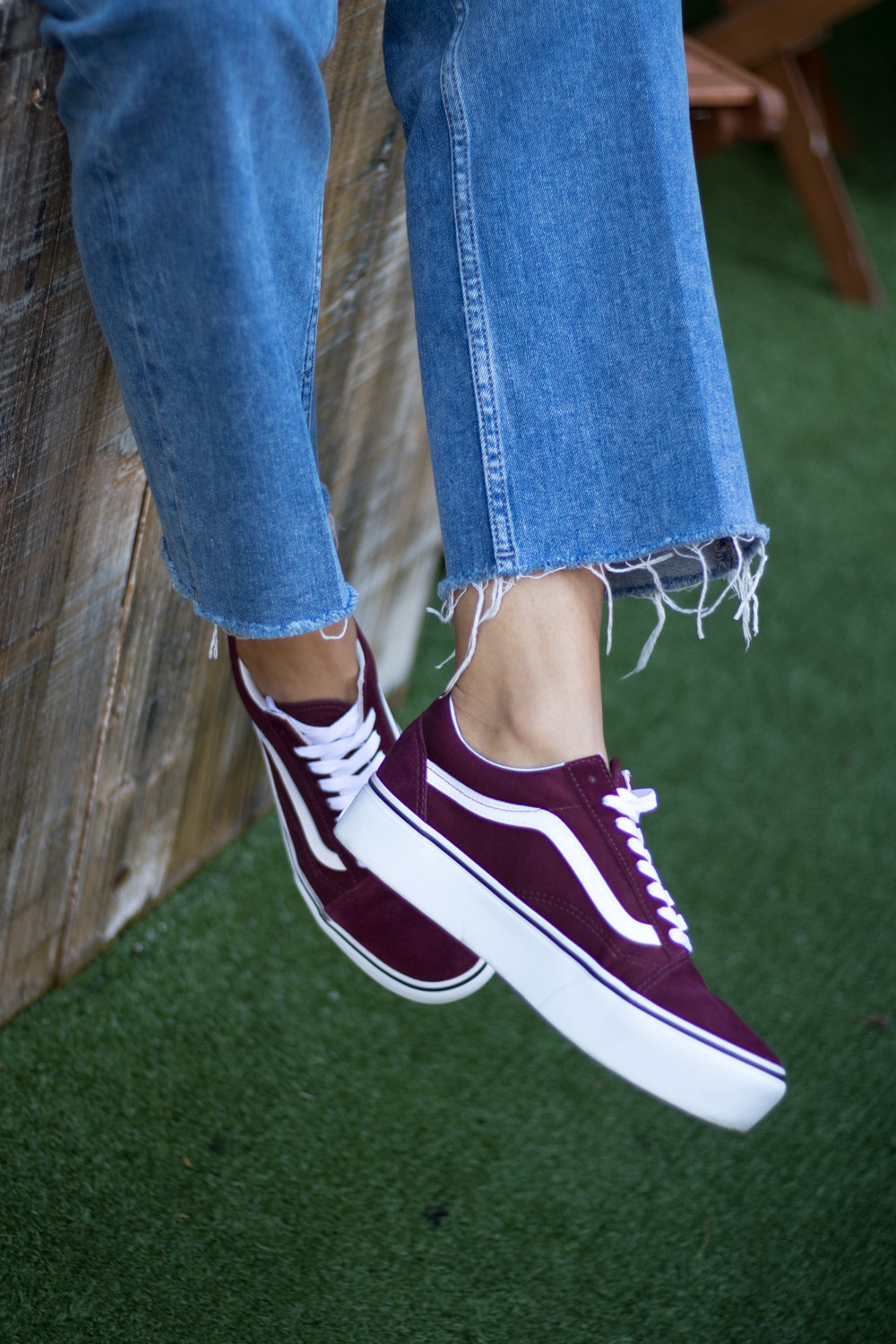 Vans Old Skool Platform Trainers In Burgundy
