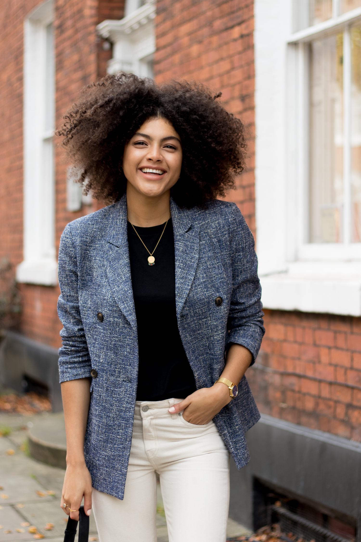 Samio Manchester Style Blogger Topshop Blue Blazer and Black Cos Tshirt