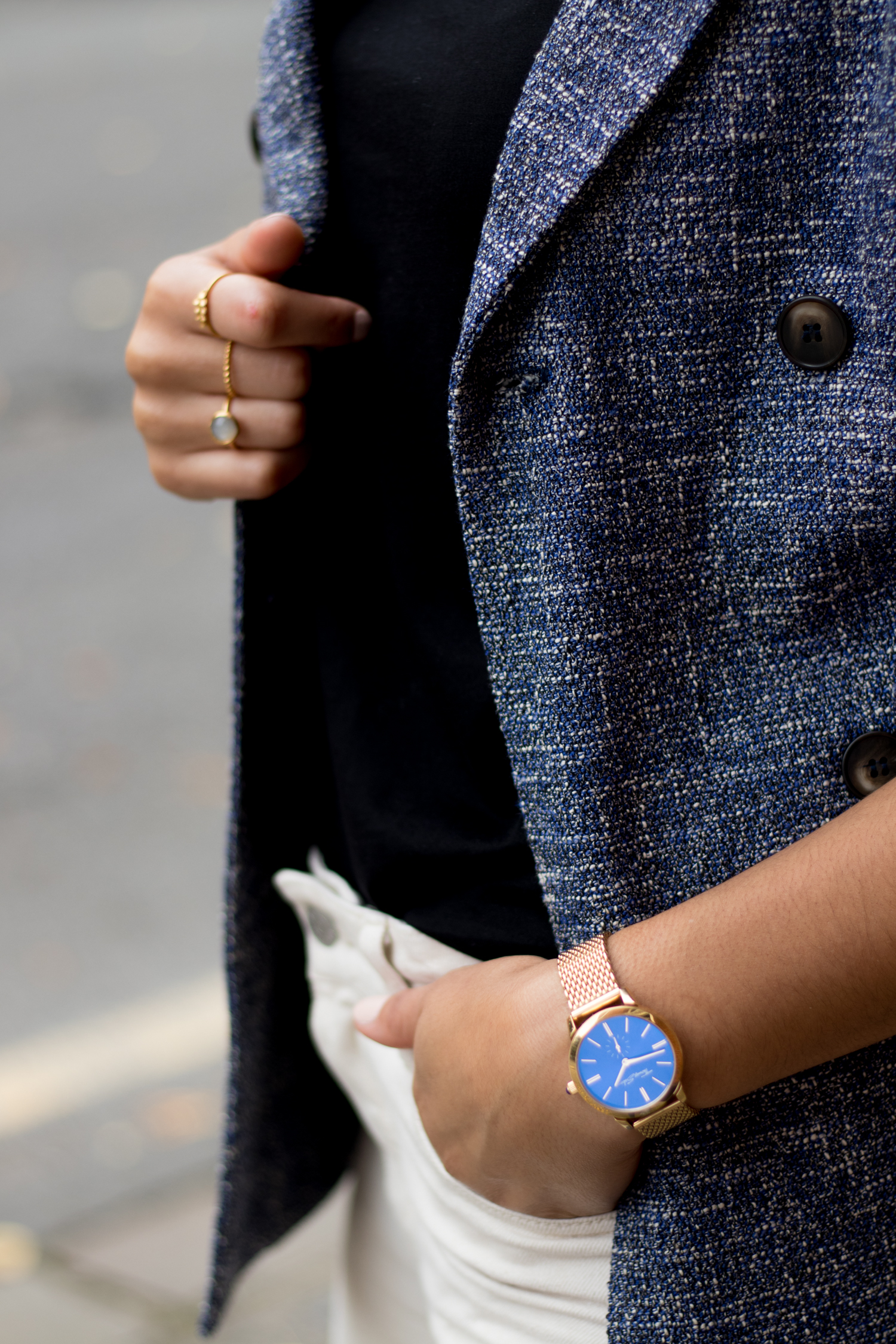 Thomas Sabo Gold Watch with Blue and Pernille Corydon Gold Rings