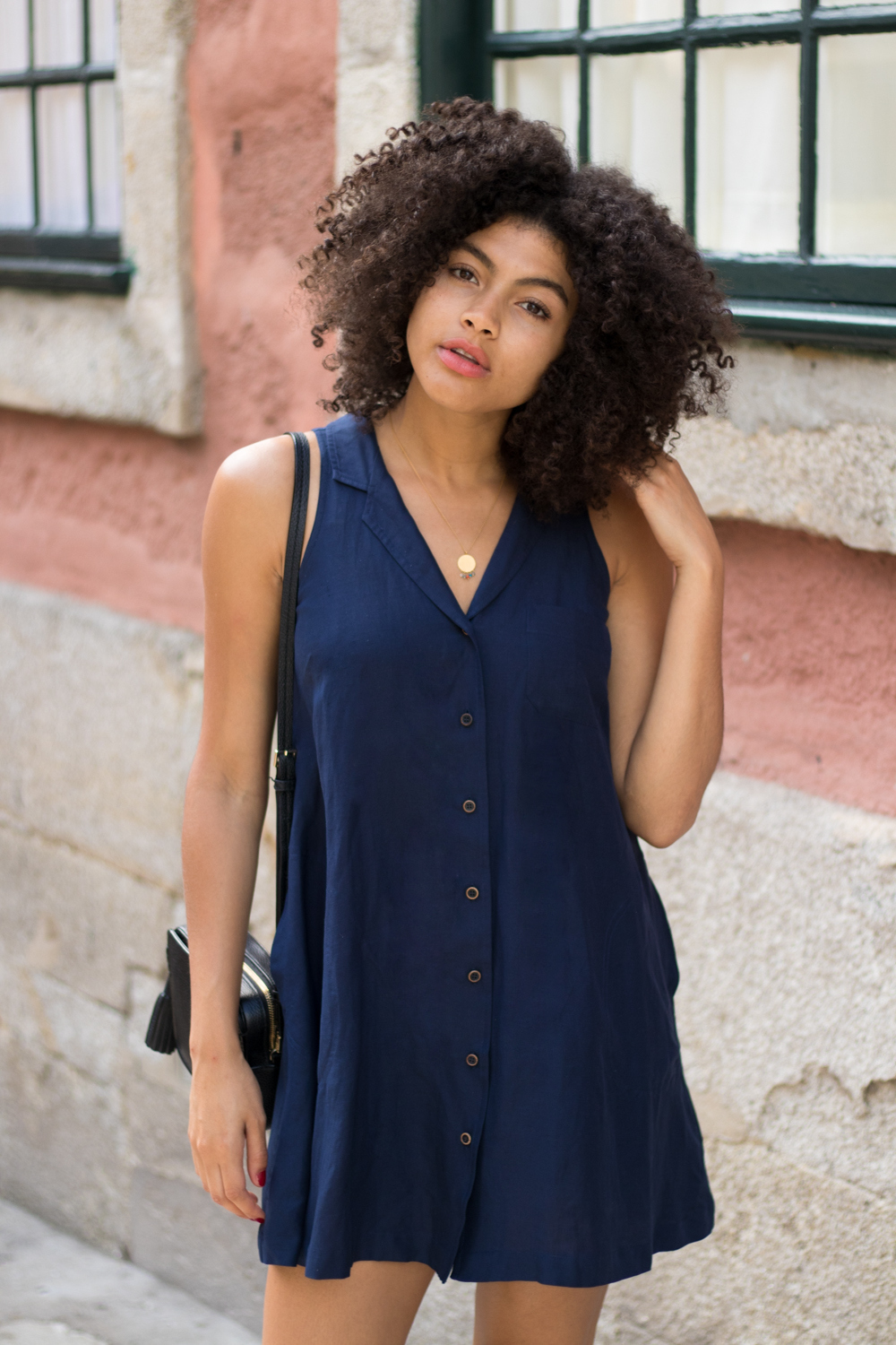 Womens Navy Button Vintage Style Dress