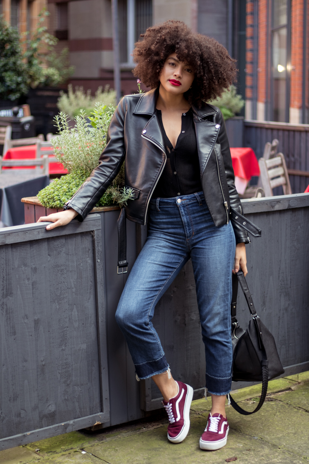Everyday Style Blogger Outfit Denim and Biker Jacket