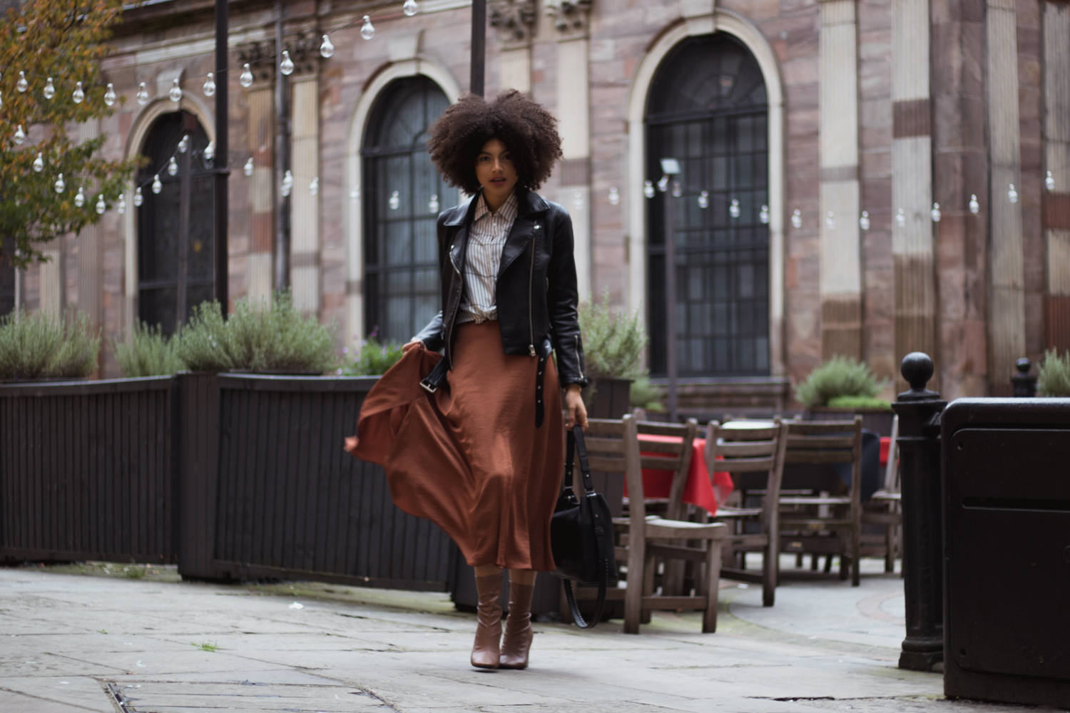 Fall Fashion Burnt Orange Midi Skirt and Biker Jacket Outfit