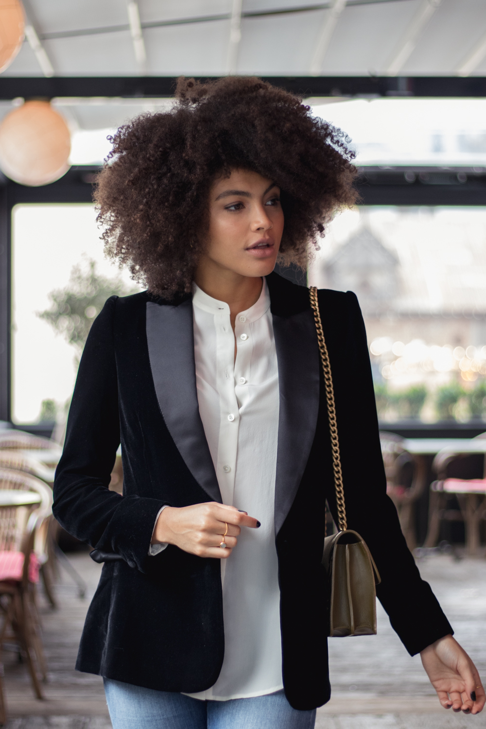 Samio Black Topshop Velvet Blazer and Silk Element Collarless Shirt