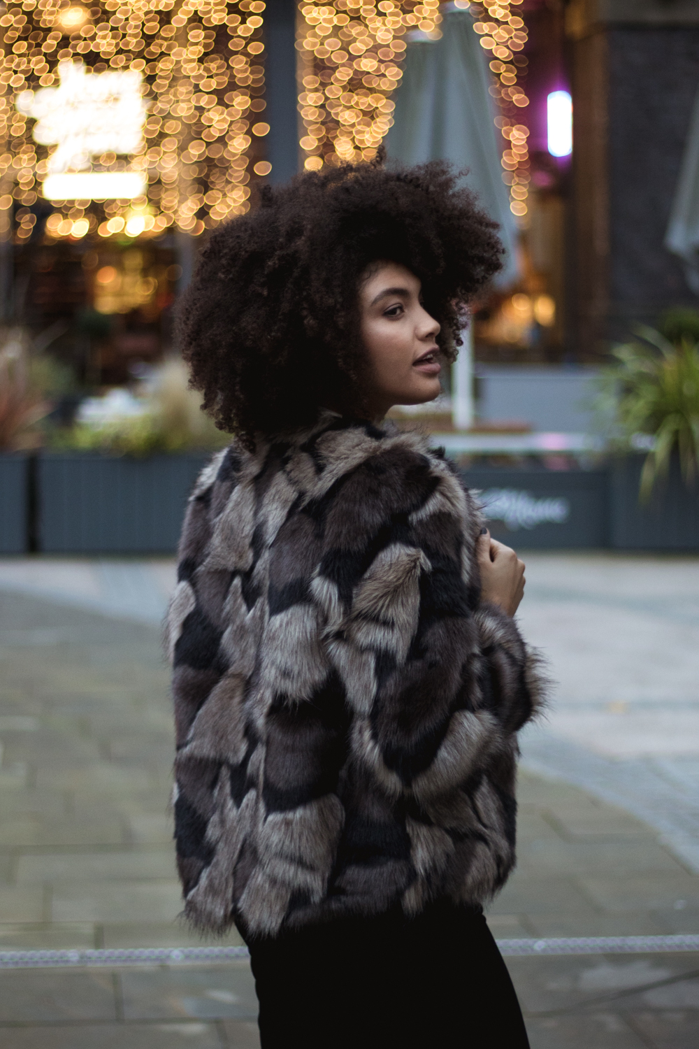 Samio in faux fur storm and marie jacket TK Maxx outfit
